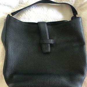 Jcrew black leather pebbled hobo purse